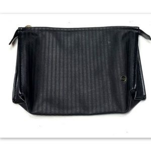 Oscar De La Renta Black Striped Makeup Bag Vintage